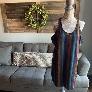 UO Silence + Noise Stripe Cold Shoulder Dress